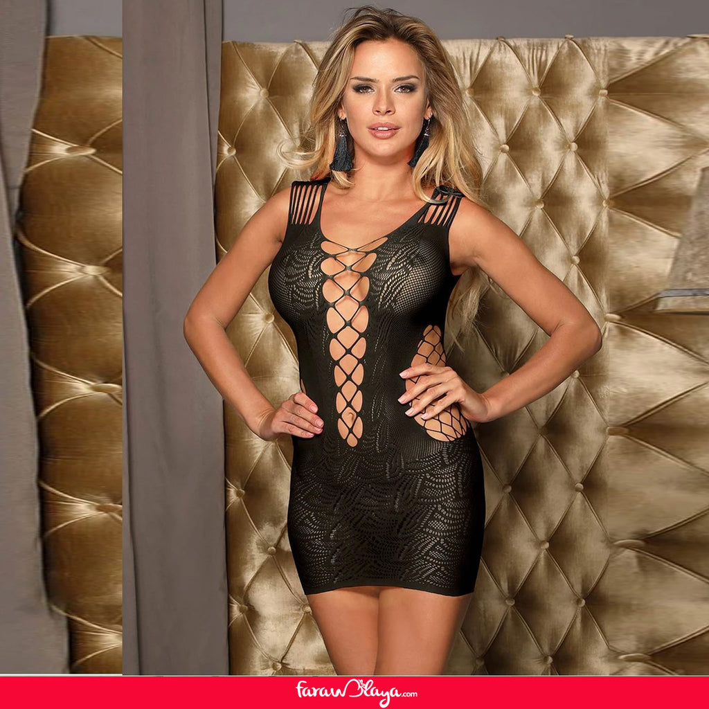 Black Crotchet Mesh Hollow-out Mini Chemise Bodystocking