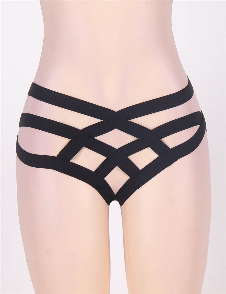 Black Cage Bandage Brief Thong