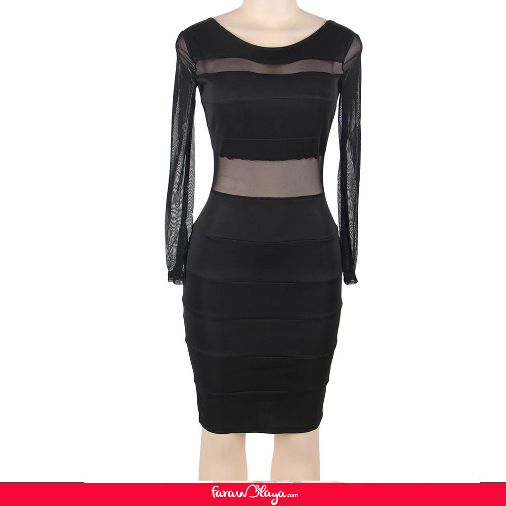Plus Size Black Mesh Sexy Bodycon Long Sleeves Dress