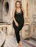 Plus Size Lingerie With Halter Top & Pants