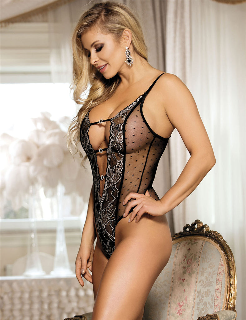 Halter Black Lace Teddy With Embroidery