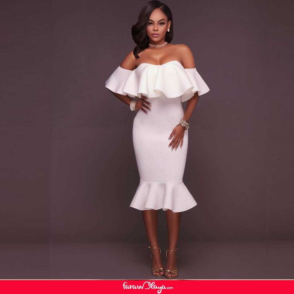 White Off-Shoulder Ruffle Bodycon Mermaid Party Dress