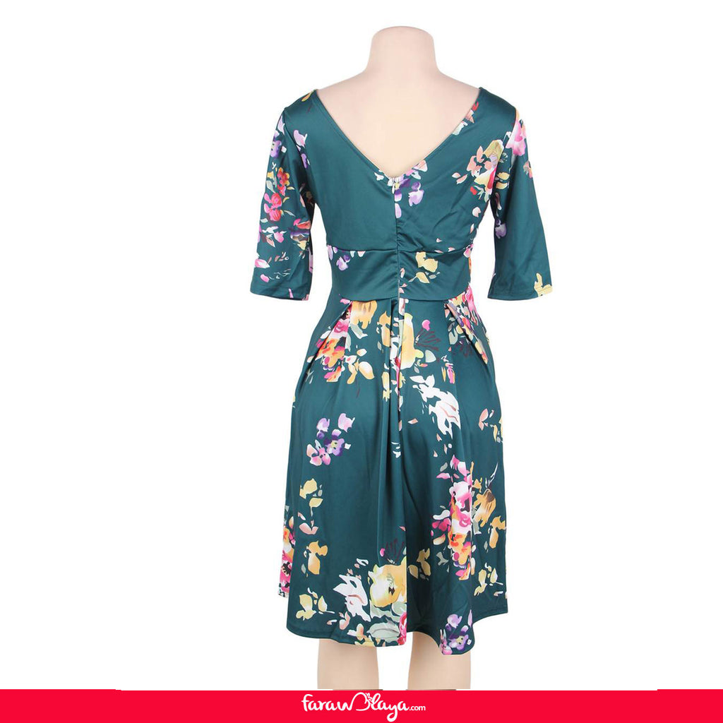 Half Sleeve Jasper Vintage Style Floral Swing Dress