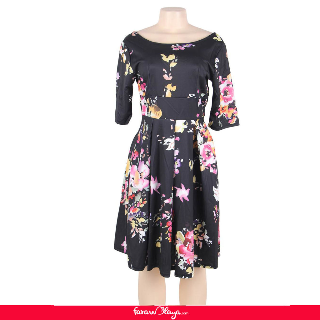 Plus Size Black Printing Fashion Dress