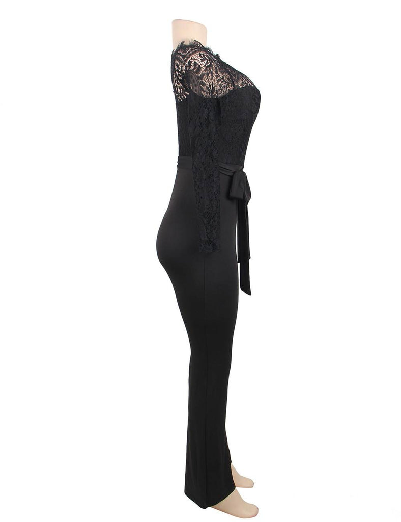 Black Falling Shoulder Lace Stitching Fashion Jumpsuit