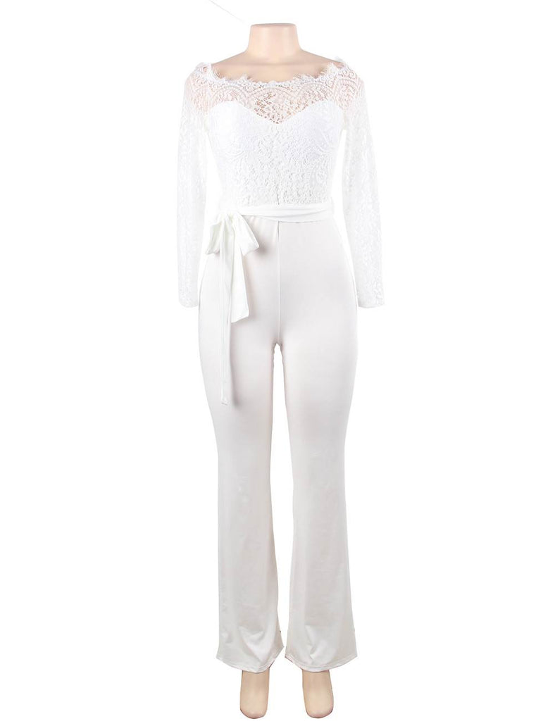 White Falling Shoulder Lace Stitching Fashion Jumpsuit