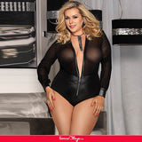 Plus Size Black V-neck Zipper Leather Teddy