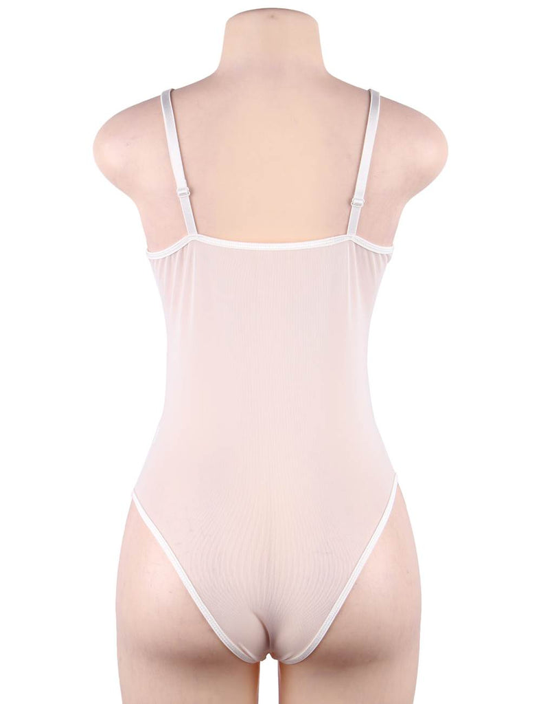 White Lace High Quality Eyelash Lace Splice Sexy Bodysuit