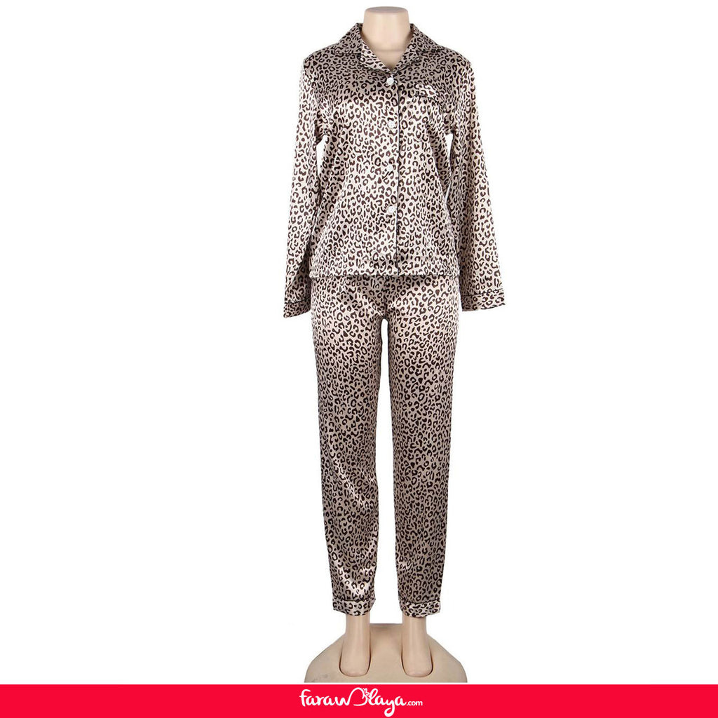 Leopard Long Sleeve Silk Pajamas Set Two Piece Set