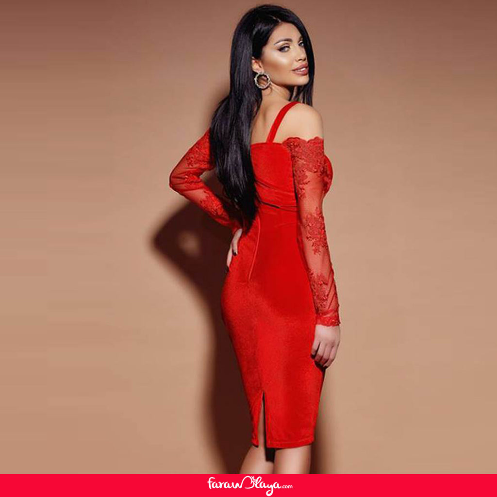 Red Lace Long Sleeve Off Shoulder Sexy Tight Party Dress