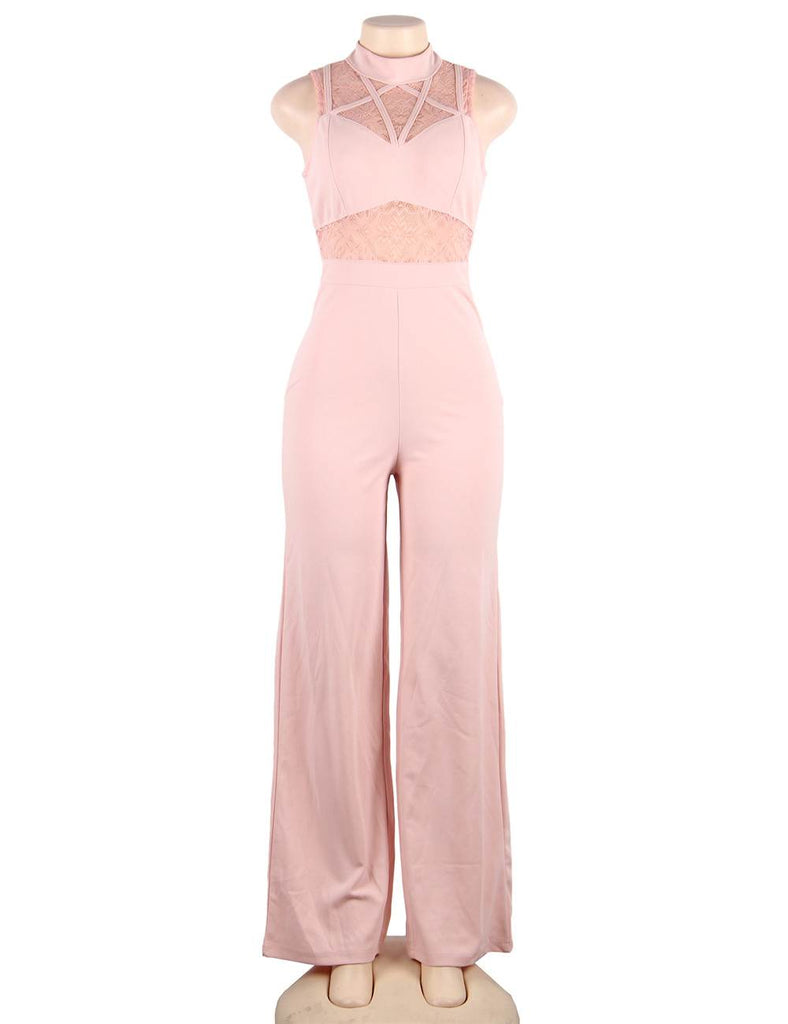 Pink Hollow Lace Sleeveless High Neck Sexy Jumpsuit