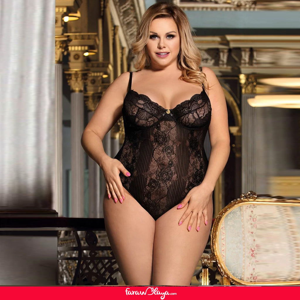 Black Glamour Hollywood Sheer Lace Underwire Teddy