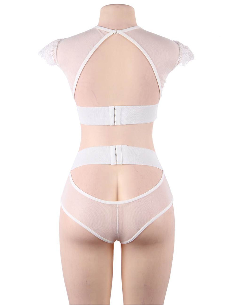 White Sexy High Waist Elegant Embroidery Bra And Garter Panty Set