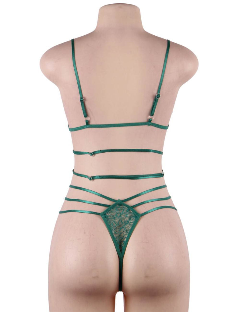 Adorable Ladies Green Sexy Bandage Hollow Nightwear Bra And Panties 2 Piece