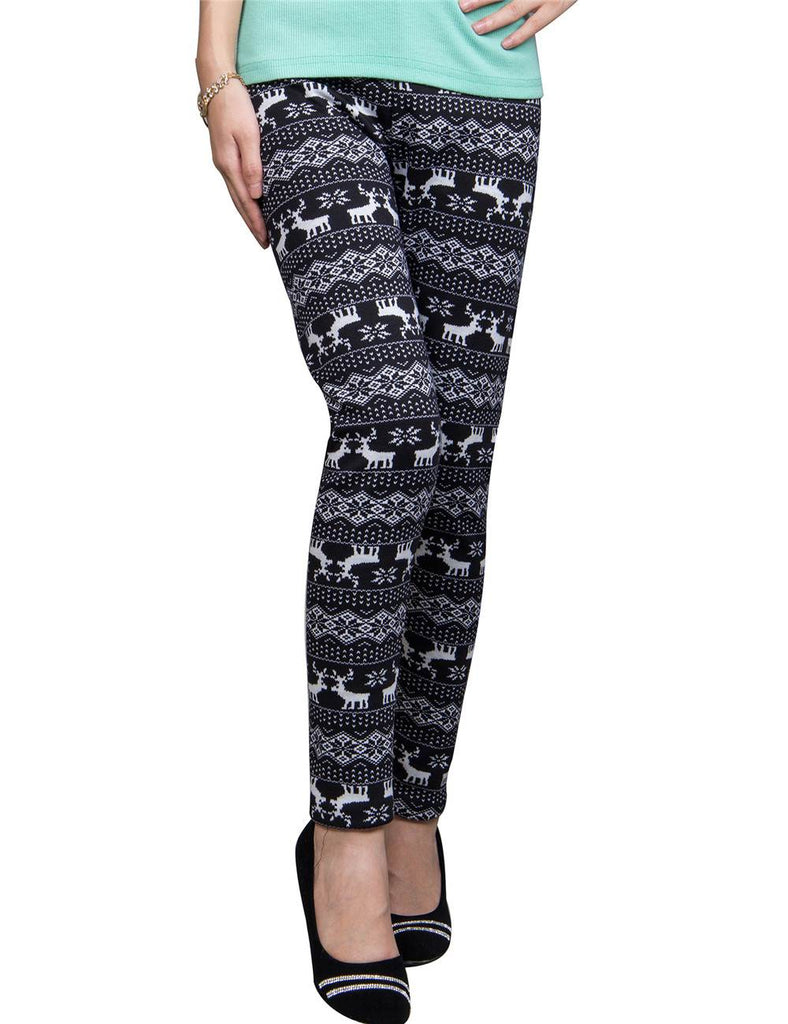 Christmas Deer Printed Black Thick Legging