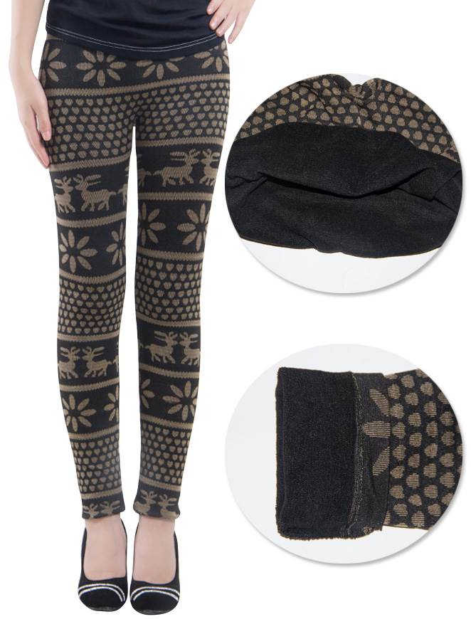 Ladies Winter Deer Snowflakes Leggings