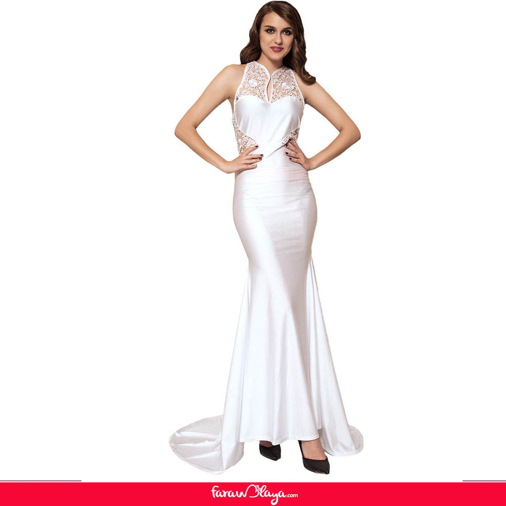 Embroidery Sleeveless High Neck Backless White Party Gown