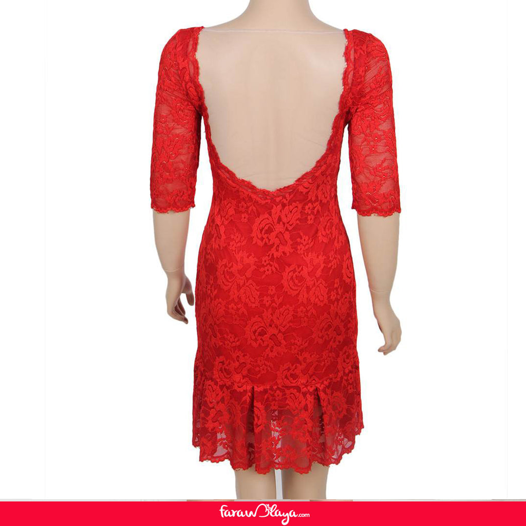 Red Short Sleeve Round Neck Lace Bodycon Dress