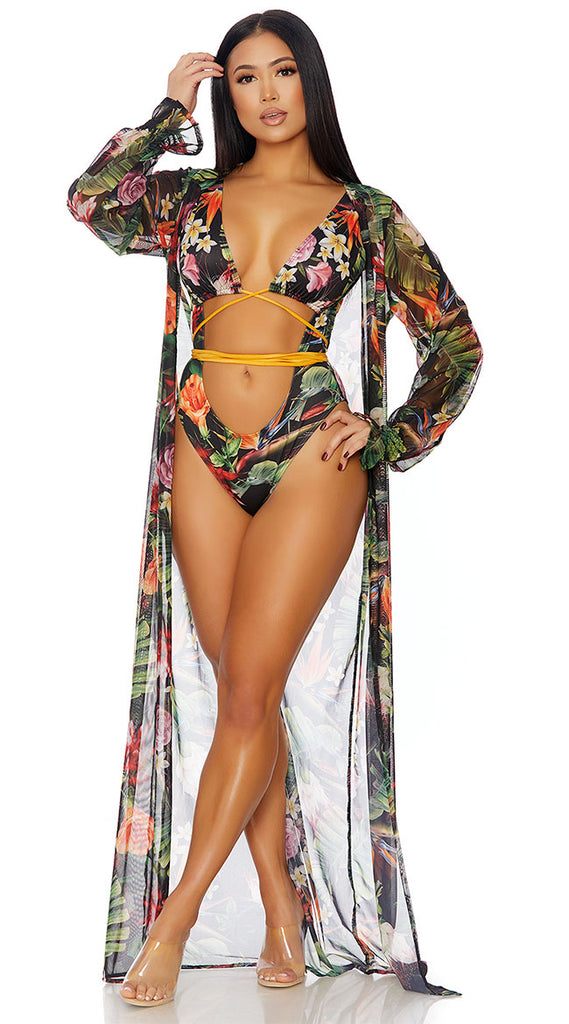 TROPICAL DREAMS MESH KIMONO COVER-UP