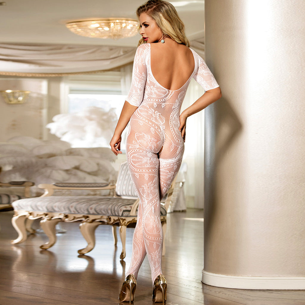White Fishnet Open Crotch Bodystockings