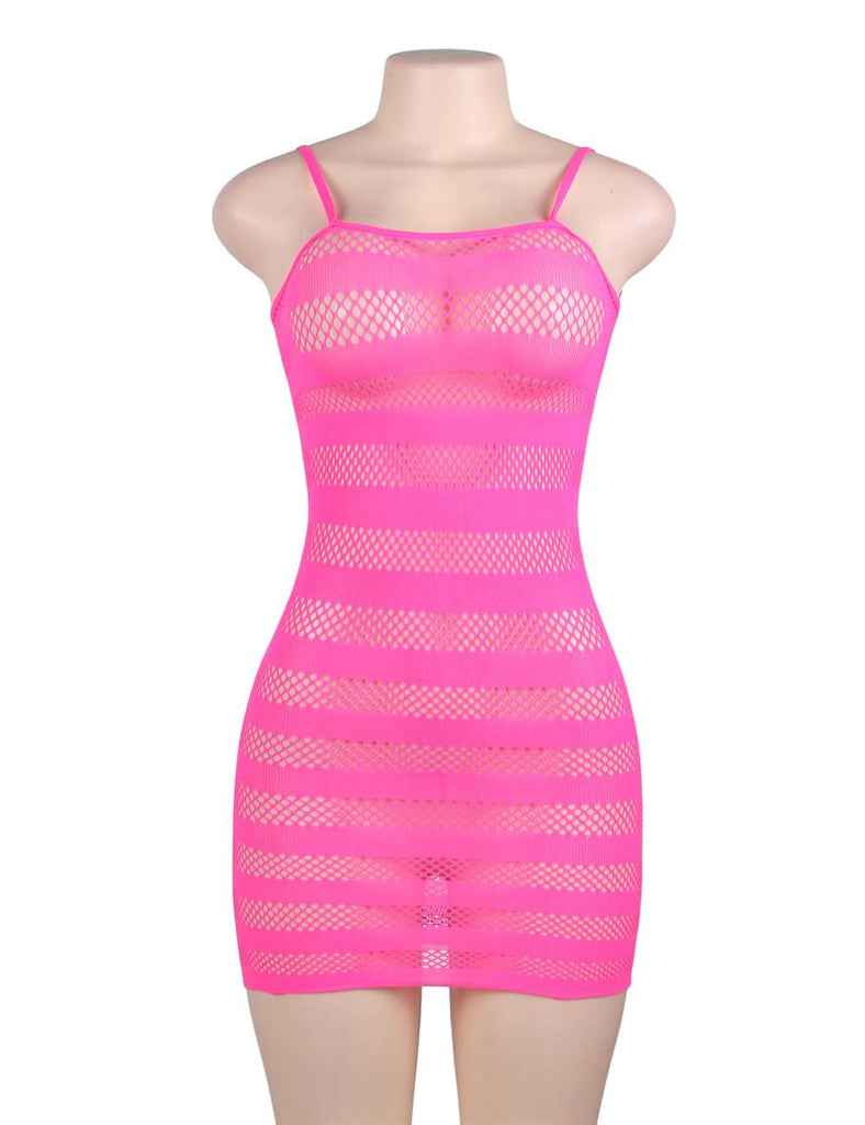 Hollow-out Stripey Fuchsia & Black Crotchet Mini Chemise Dress