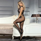 Strappy Shoulders Floral Motif Mesh Black Bodystockings