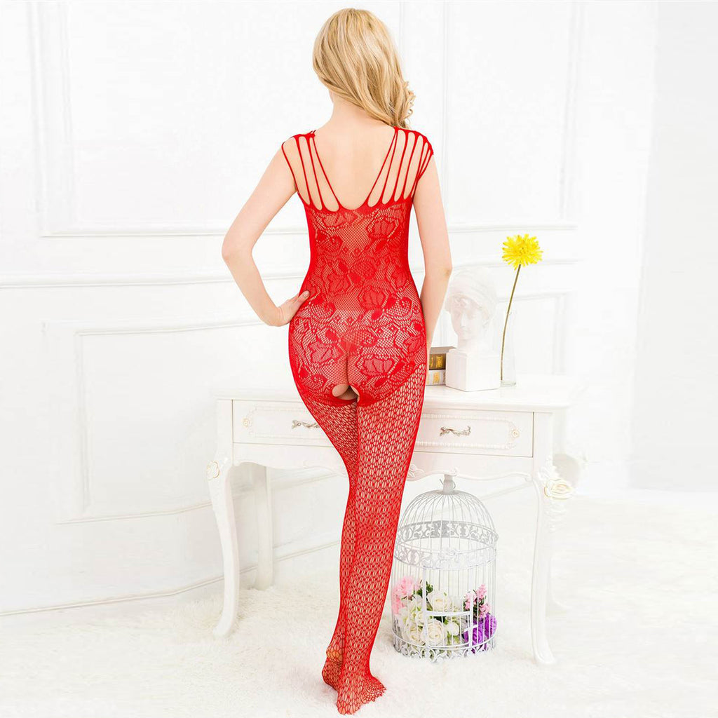 Strappy Shoulder Open Crotch Red Bodystocking