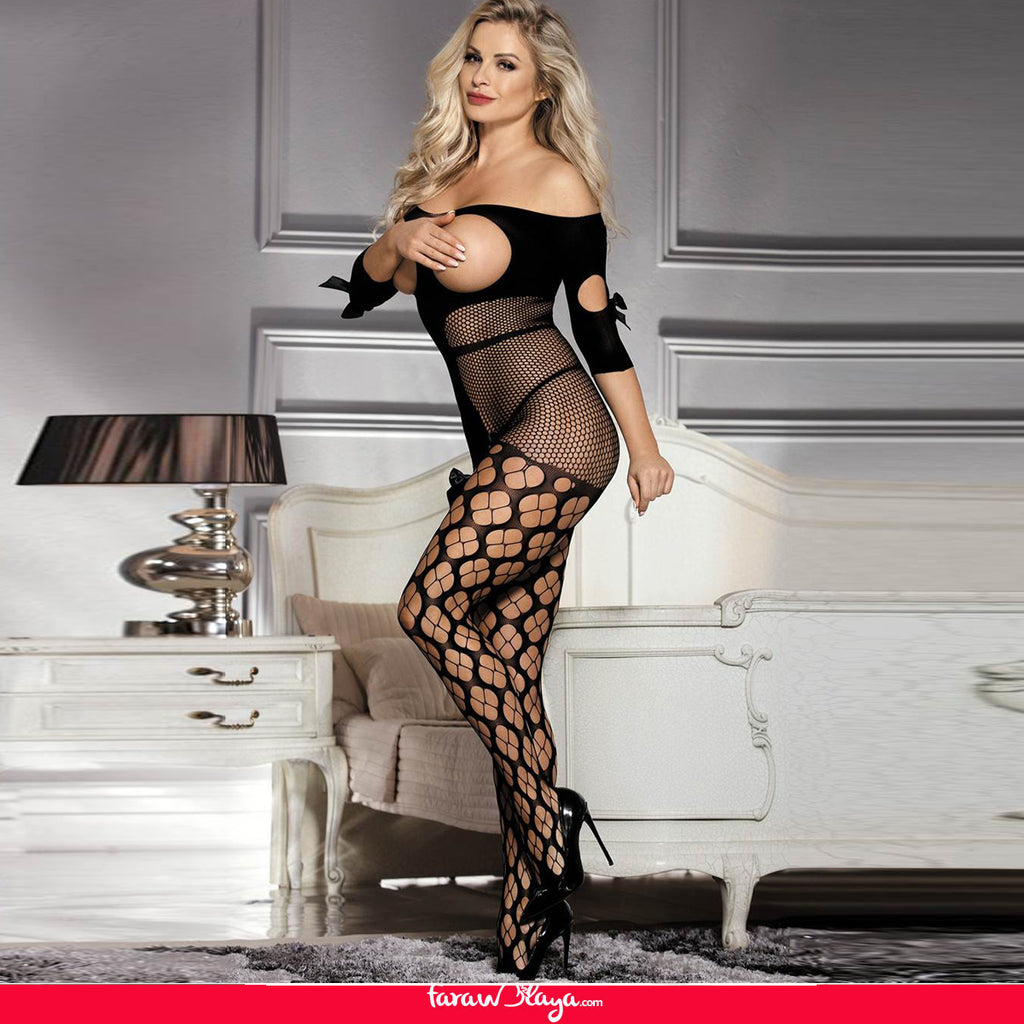 Sexy Fishnet Open Up Off Shoulder Black Bodystocking