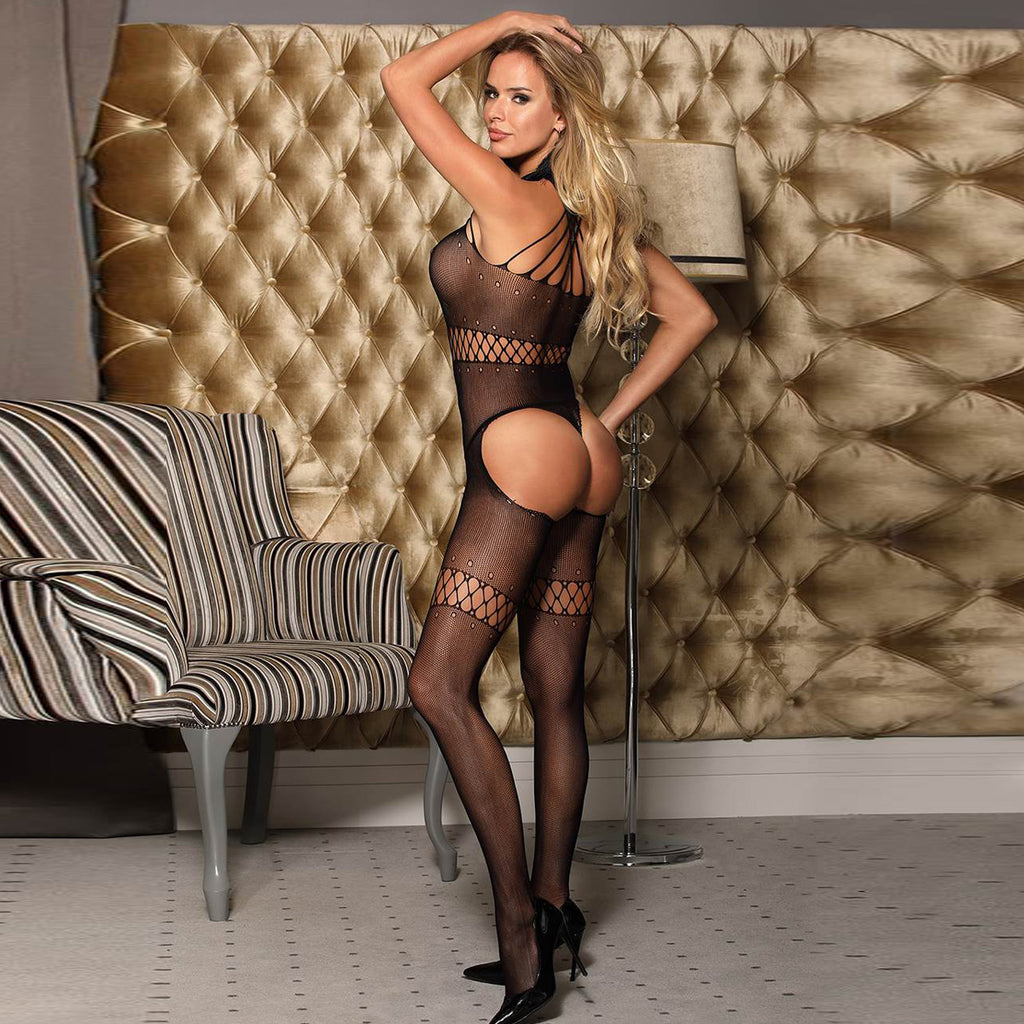 Black Multi-Strand Sling Hollow Bodystocking