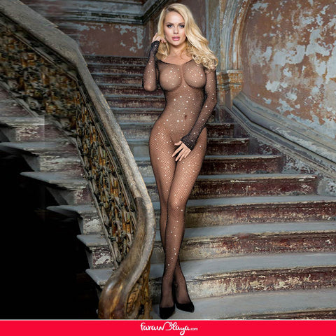 Plus Size Black Fishnet Diamonds Long Sleeve Bodystocking