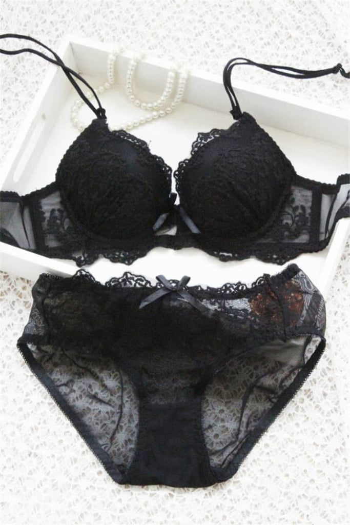 Cute pad models Bras Lace Sexy Lingerie Embroidery Breathable Breast Women girls underwear Thin Bra Brief Set