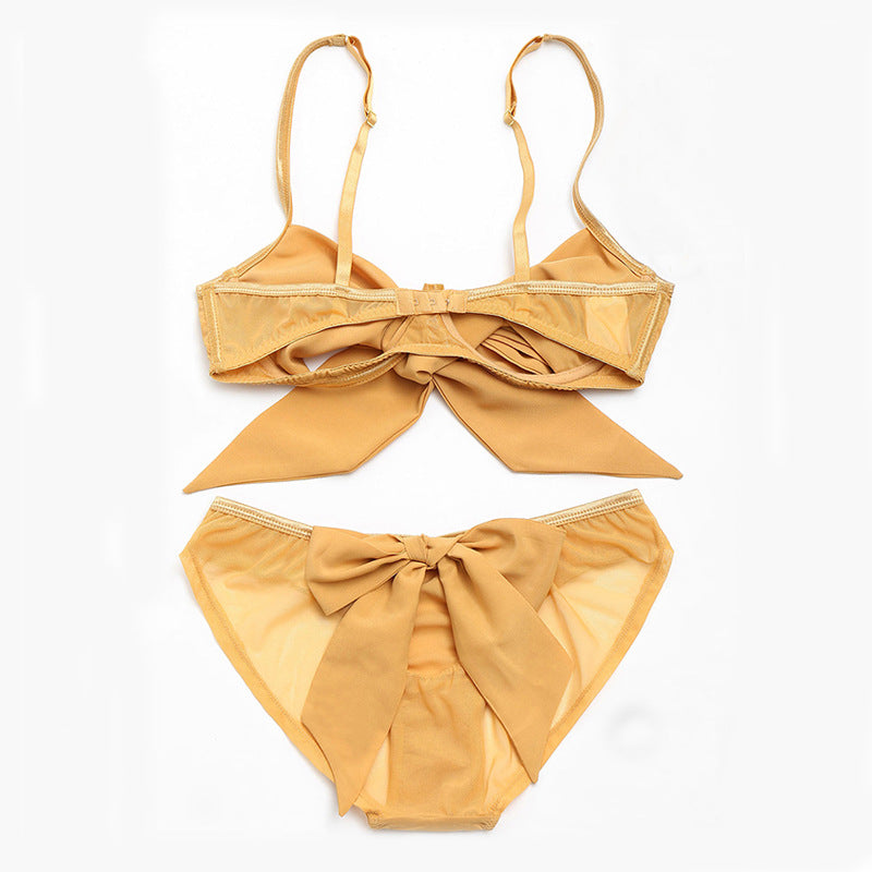ZBAIYH Yellow Women Sexy Lingerie Set Big Bow Sheer Bra and Panty Set Summer Underwear Set Women Comfortable Non-Wire Bra