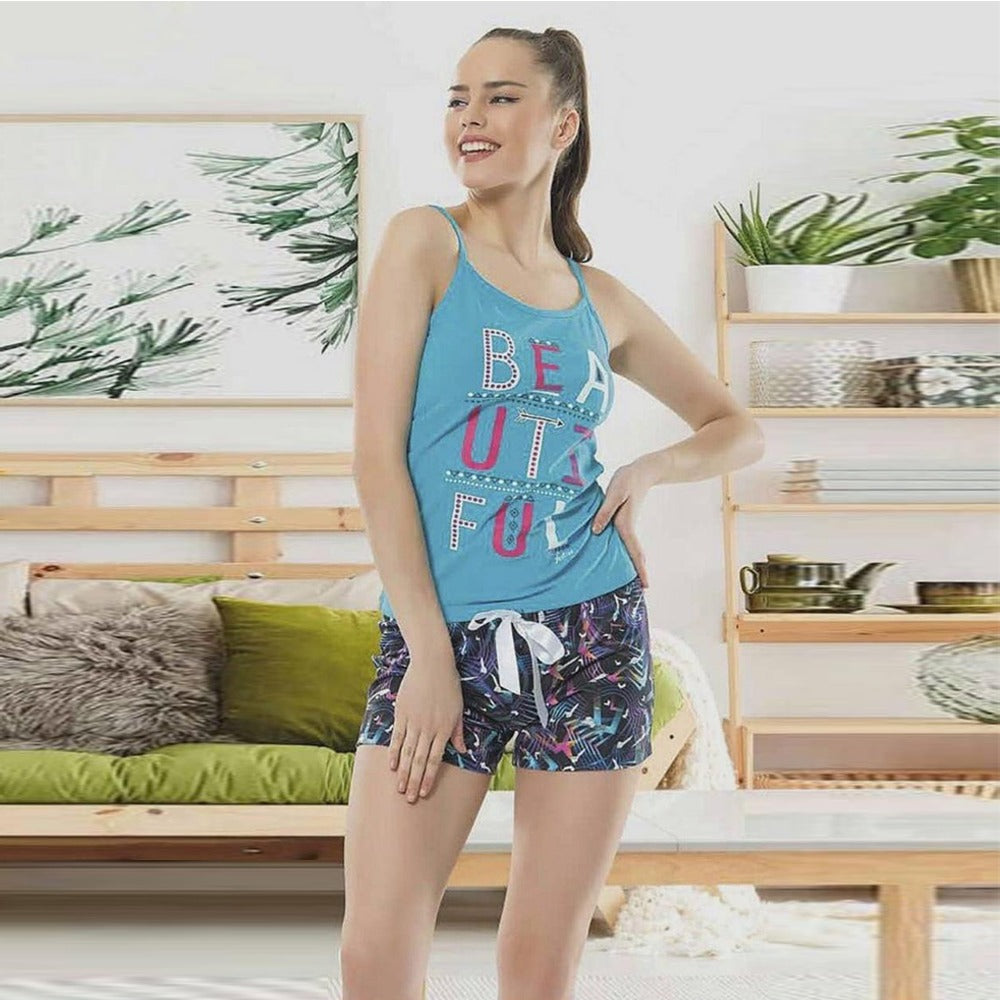 Pajama Short Set With Cool Print