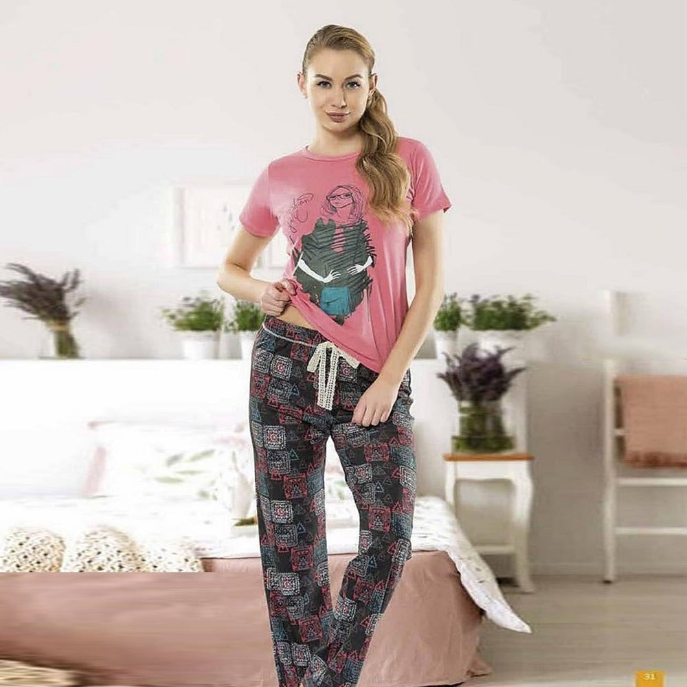 Pajama Pants Set With Girly Print