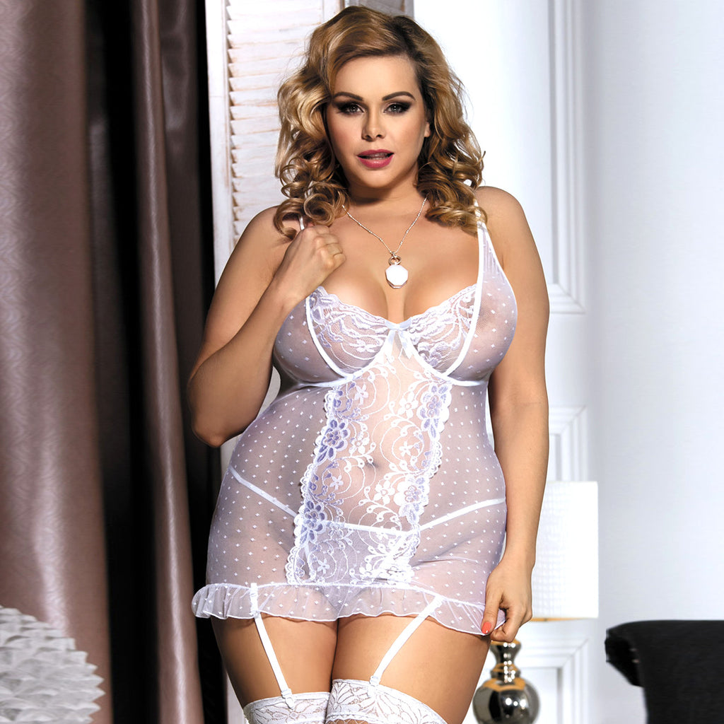 Stretch Lace and Dot Mesh White Garter Slip Set With Underwire