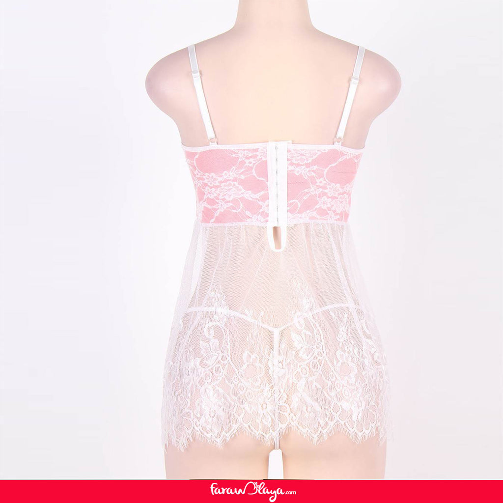 Bustier Top Babydoll with Sheer Bodice and G-string