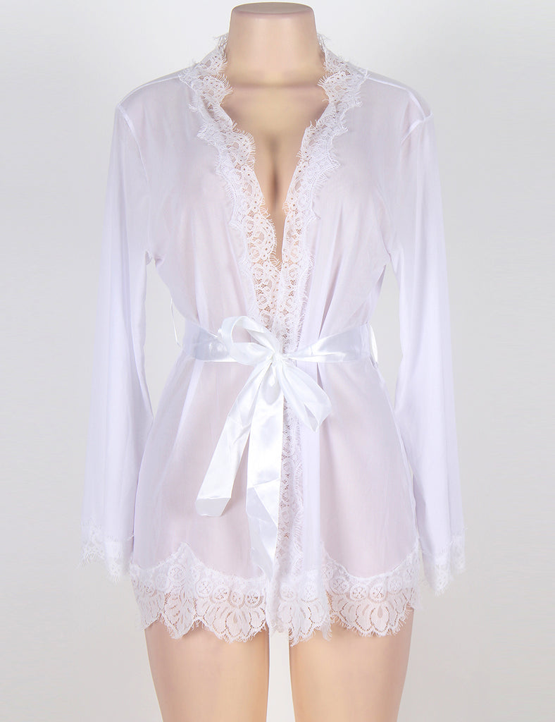 Robe Lace Trim With Thong