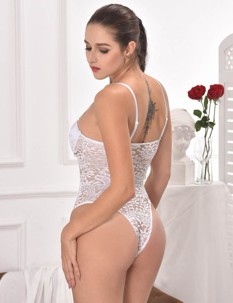 White & Black Push-up Cup Lace Teddy
