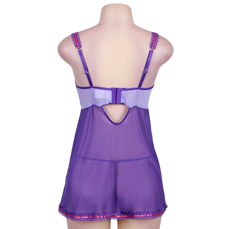 Plus Size Purple And Pink Lace Cup Babydoll Set