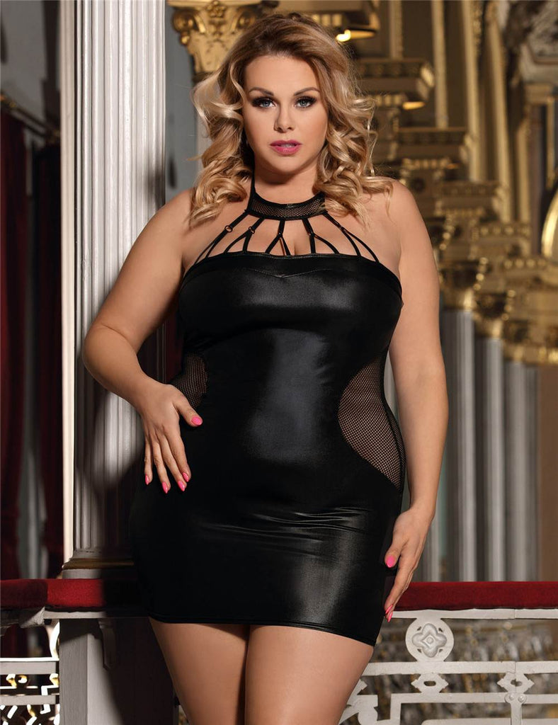 Plus Size Black Sexy Lady Leather Skirt