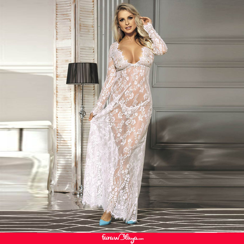 White Long Sleeve Lace Sleepwear Gown