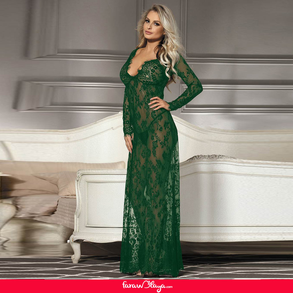 Green Delicate Lace Long Sleepwear Gown