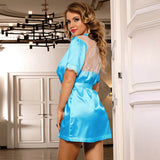Silk Satin Lace Backless Sexy Women Kimono Home Pajamas