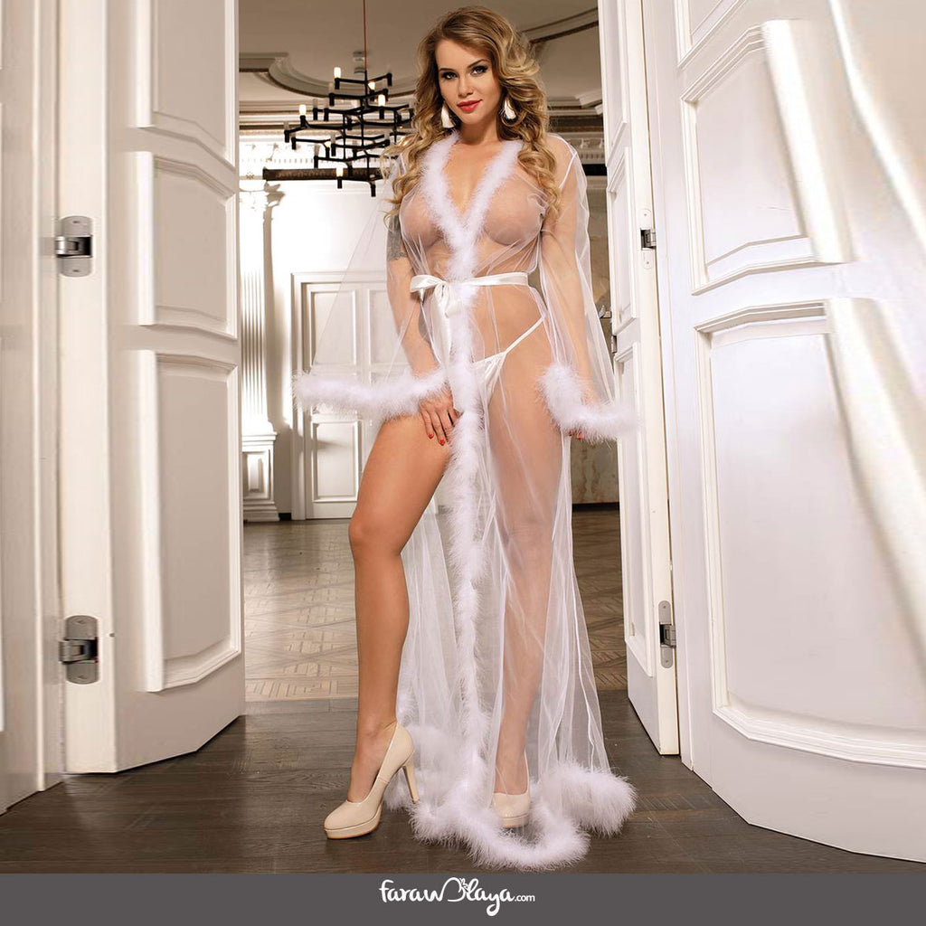Queen White Robe Perspective Sheer Sleepwear With Fur