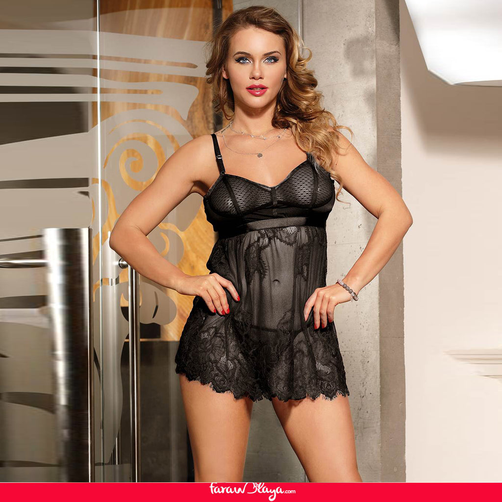 High Quality Elegant Black Lace Sexy Babydoll