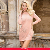 High Neck Long Sleeveled Mesh Rhinestone Sexy Women Nightclub Transparent Skirt