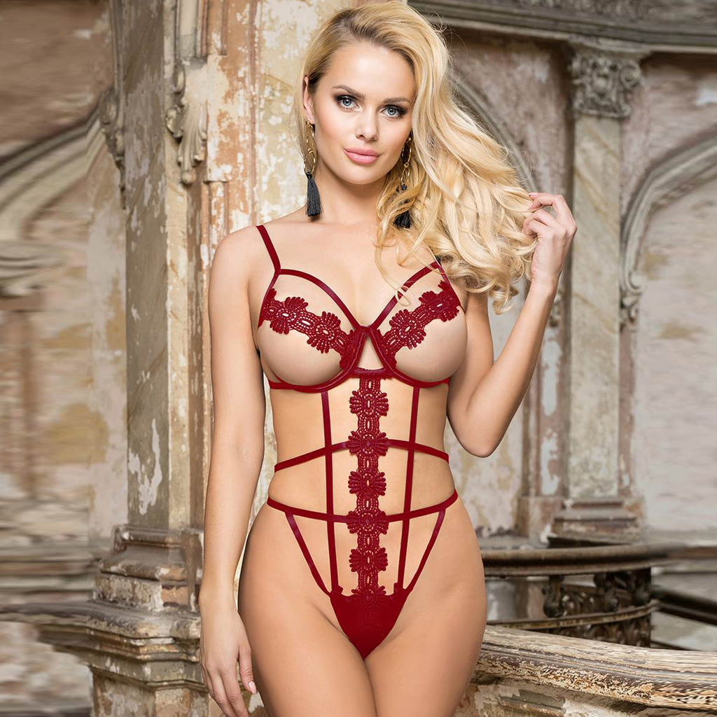 Red Delicate Flowers Lace Hollow Out Teddy With Underwire