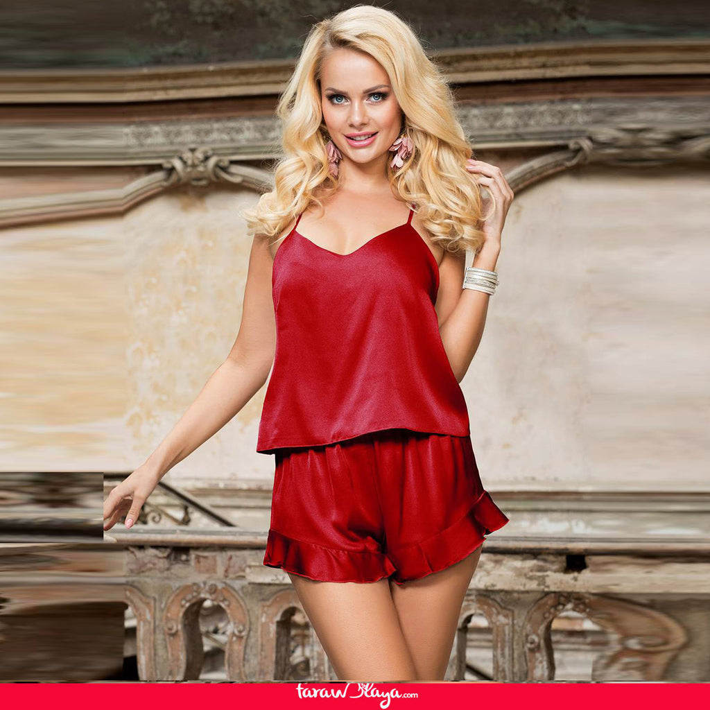 Elegant Ice Silk Strap Shorts 2 Piece Pajama Set