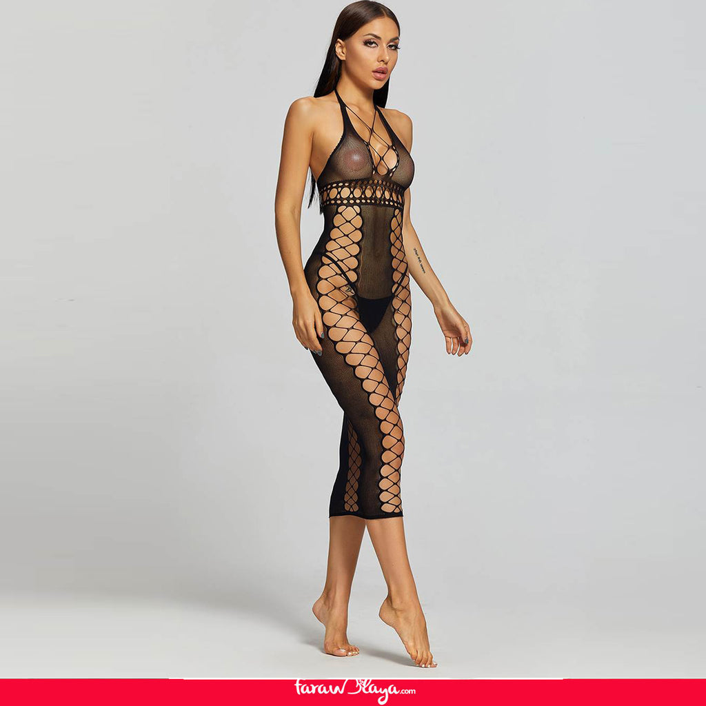 Sexy Fishnet Hollow Out Long Lingerie Babydolls