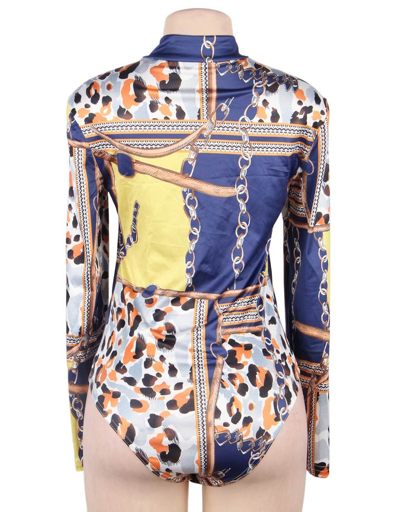 Fashion Printed Long Sleeves Exposed Chest Mature Sexy Bodysuit
